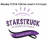 Summer Series Intermediate Level 3-4 Mondays 7/19 & 7/26 3-6 pm