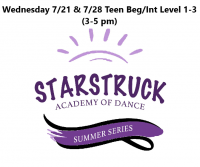 Summer Series Teen Beg/Int Level 1-3 Wednesdays 7/21 & 7/28 3-5 pm